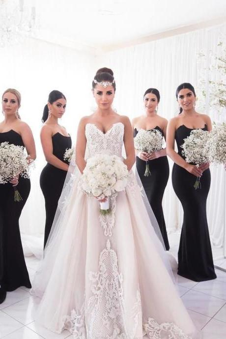 Black bridesmaid dresses, Unique strapless mermaid bridesmaid dresses, Simple cheap bridesmaid dresses