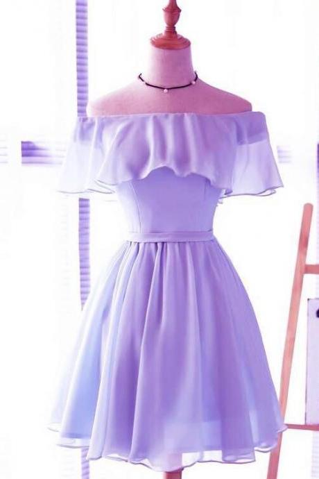 Lavender Chiffon Off Shoulder Short Bridesmaid Dresses, Cute Homecoming Dress, Lovely Party Dresses
