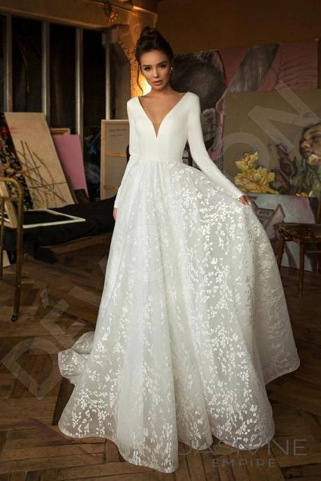 Vintage Long Sleeve Lace Satin Wedding Dress Sexy Deep V Neck Backless Bride Dress for Wedding